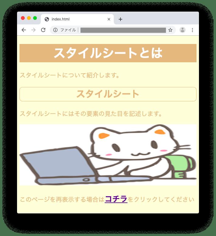 HTML+スタイルシートの表示結果