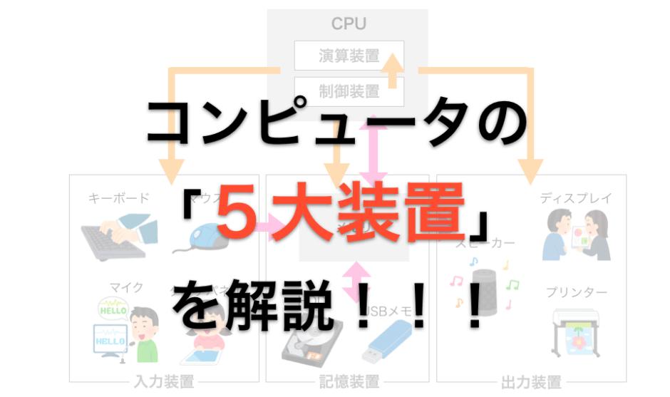 コンピュータ5大装置解説ページのアイキャッチ