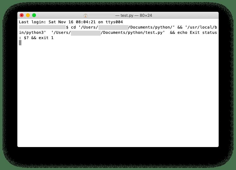 PythonLauncherで.py実行時の画面
