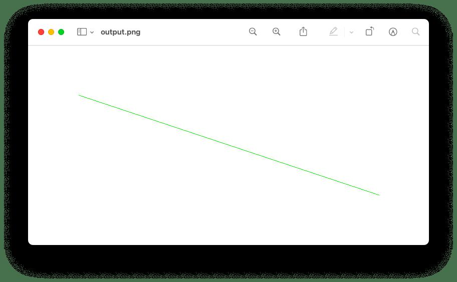 点を2つ指定して描画した線の結果
