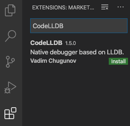 CodeLLDBを検索する様子