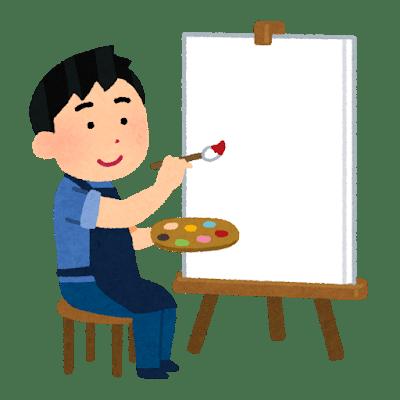 キャンバスに絵を描く様子