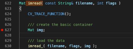 OpenCVへのブレークポイント設定の例