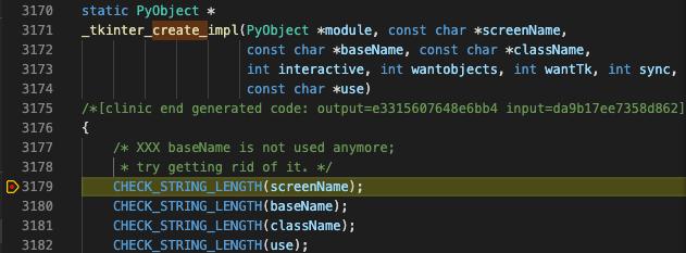 _tkinter_create_impl でプログラムが停止する様子