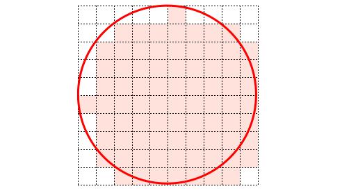 円内の点の小正方形を塗りつぶした様子