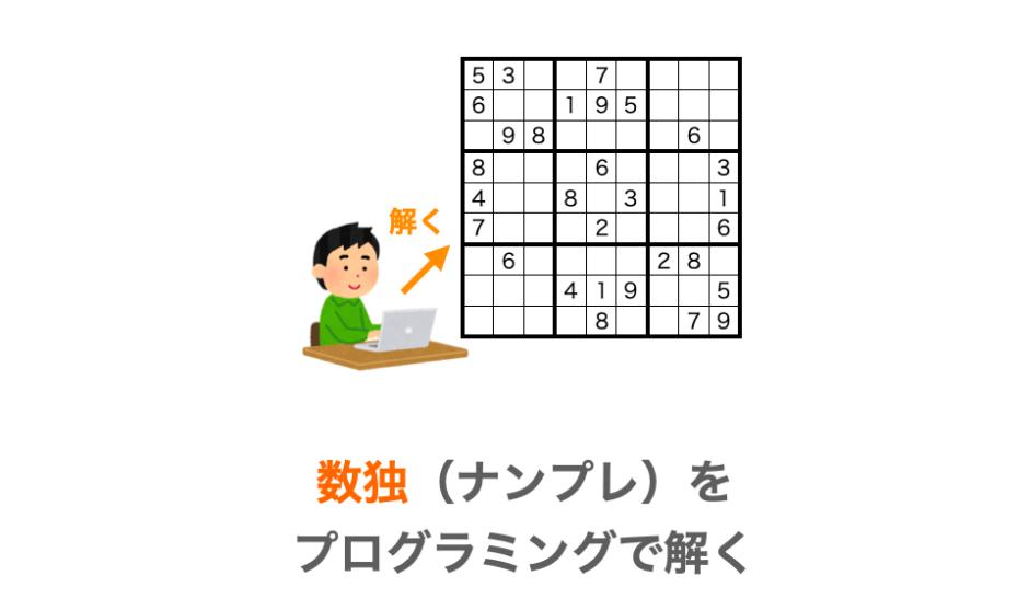 プログラミングで数独を解く方法の解説ページのアイキャッチ