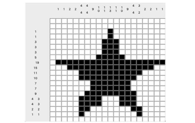 ピクロスのゲームクリア時の画面の例
