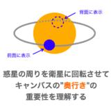 """【Python/tkinter】惑星の周りを衛星に回転させてキャンバスの""""奥行き""""の重要性を理解する"""