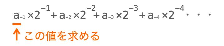 小数点以下の値の2進数変換手順1