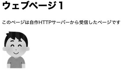 HTTPサーバーから受け取ったHTMLがウェブブラウザに描画される様子
