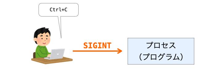 Ctrl+CでSIGINTを送信する様子