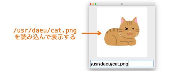 エントリーの文字列をアプリに反映する例