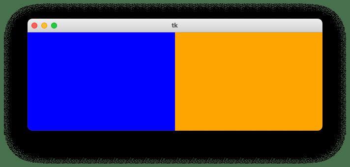 highlightthickness=0を指定することで、キャンバス同士がくっついた状態で配置される様子