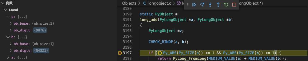 long_add関数でプログラムが停止する様子