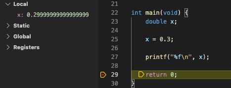 デバッガーで小数点以下の値を確認する様子